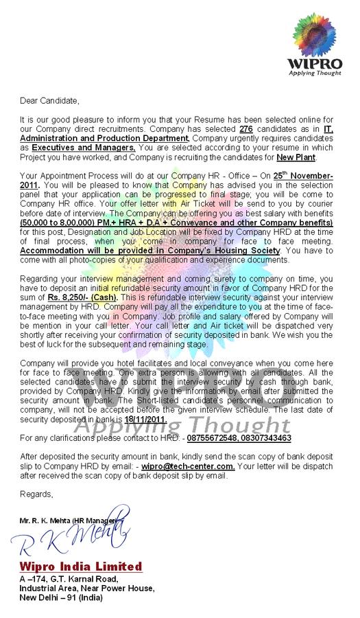wipro india limited false offer letter