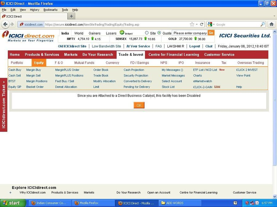 ICICI Direct com — Still i cannot trade with this account