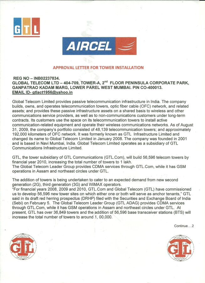 Gtl Tower Aircel Not Instoalition Tower Aircel Com