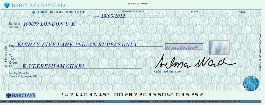 HSBC Bank Uk — barclays bank cheque