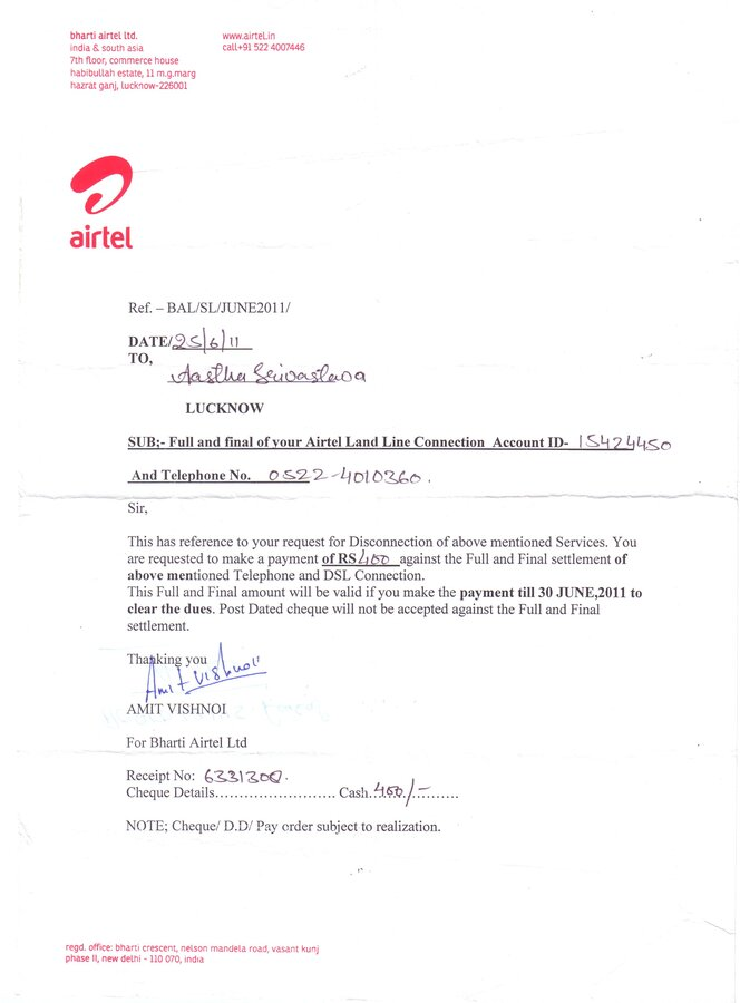 Airtel false bill and noc of broadband connection spiritdancerdesigns Gallery