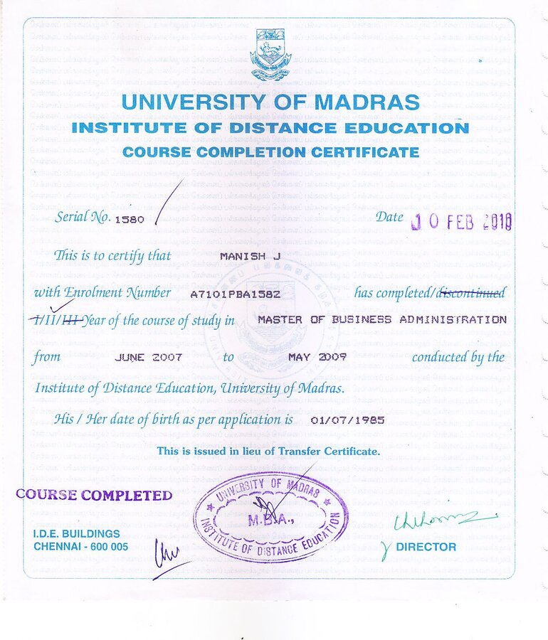 Madras University Convocationprovisional And Degree Certificate