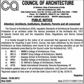 recognition not got by council of architecture