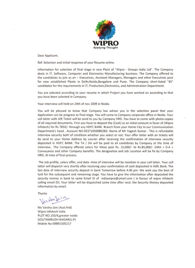 Wipro Technologies — Fake interview Call Letter