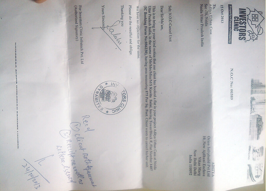 Aditya Urban Casa — Not Refunding Money of Cancelled Flat