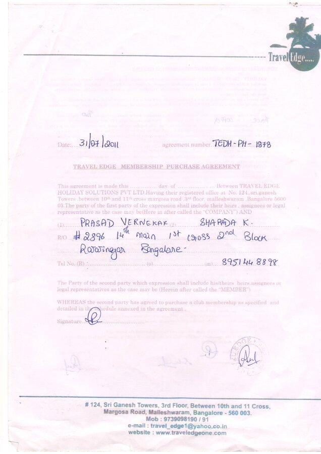 Travel Edge Bangalore Regarding The Membership Purchase Agreement
