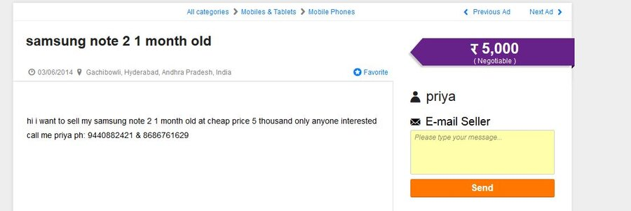 Resolved] OLX India — Fake AD and Misusing my mobile numbers