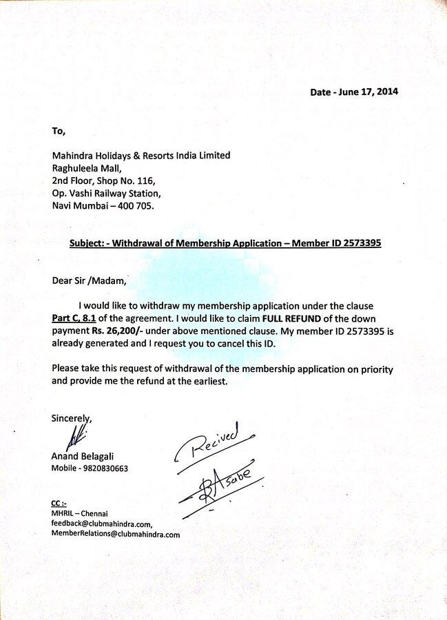 Resolved] Club Mahindra Holidays — Withdrawal of Membership