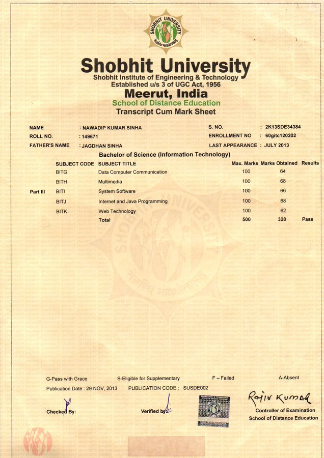 Shobhit university original certificate not yet sent yadclub Image collections
