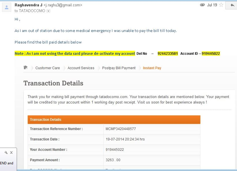 Tata Docomo — De-activation of Tata Photon Plus data card account