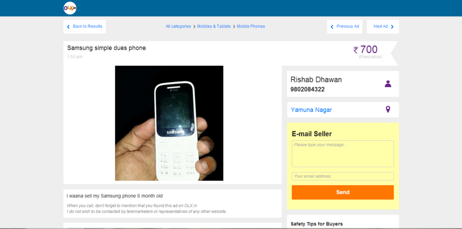 OLX India — Fake advertisement of a mobile phone with my number