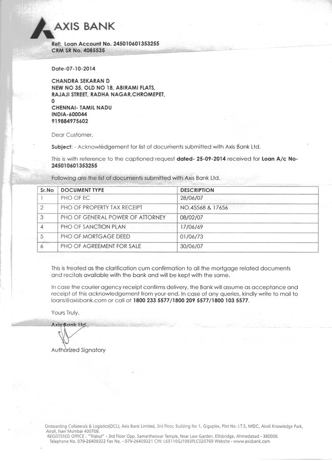 Resolved Axis Bank My Original Sale Deed Is Missing From Axis Bank Loan Center