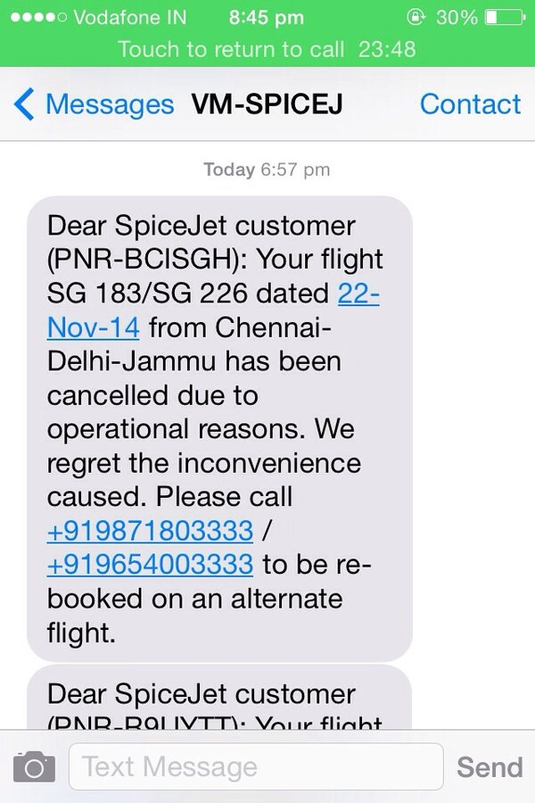 Spice Jet Airlines — Flight cancellation and not responding