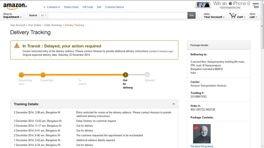 Amazon India Delayed Delivery