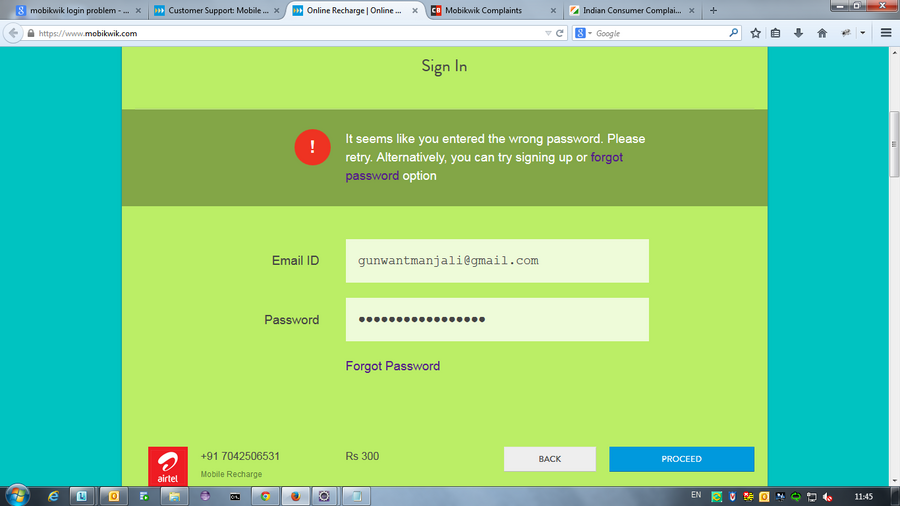 Mobikwik — Can't Login to Mobikwik account and can't access